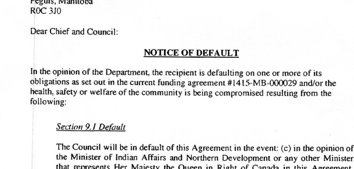 notice of default letter peguis first nation