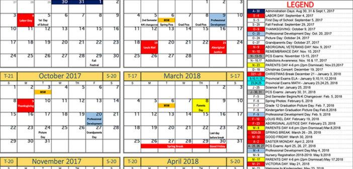 Peguis Central School Calendar 2017/18
