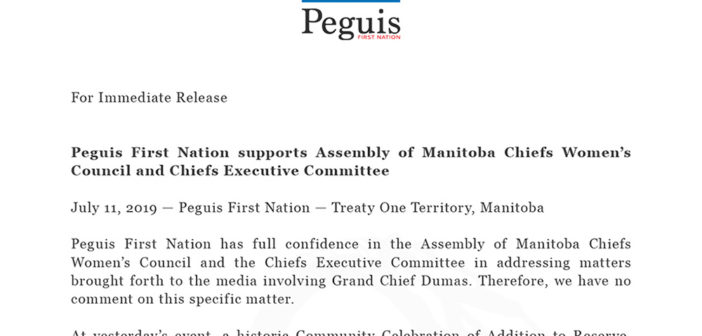 Peguis First Nation supports Assembly of Manitoba Chiefs Women's Council and Chiefs Executive Committee